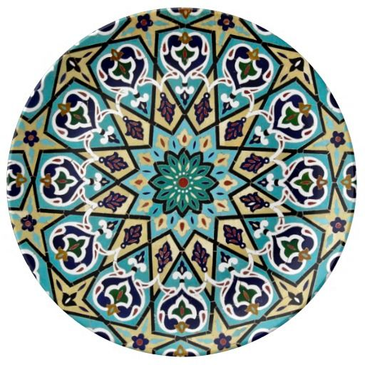 Turkish Moroccan Persian Asian Iznik Mosaic Tiles Porcelain Plate