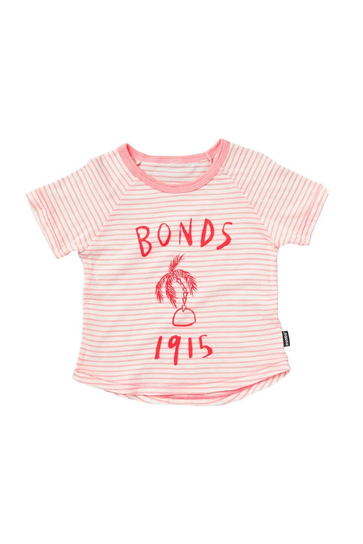 Bonds logo tee in pink. Also available in blue and yellow for boys. Running with Bonds summer tropical theme.