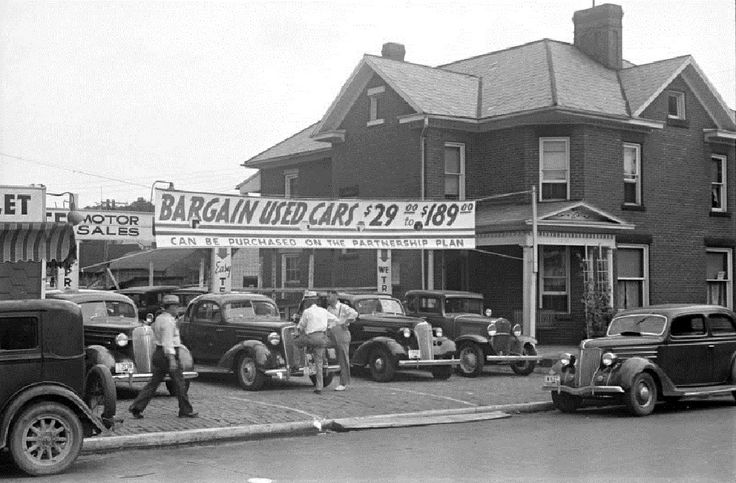 used car lot lancaster ohio 1938 old gas stations car dealers service garages gas pumps. Black Bedroom Furniture Sets. Home Design Ideas