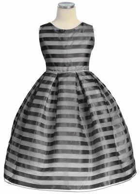 Black Stripe Organza Box Pleat Dress: Flower Girls Dresses, Blushes Pink, Boxes Pleated, Stripes Organza, Limes Stripes, Organza Boxes, Pleated Dresses, Baptisms Dresses, Black Stripes