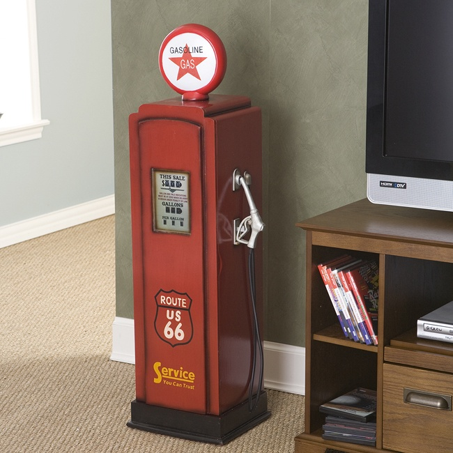 Vintage gas pump inspired cabinet