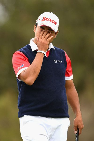 Hideki Matsuyama Photos Photos - Hideki Matsuyama of Japan reacts after missing a putt during day four of the World Cup of Golf at Kingston Heath Golf Club on November 27, 2016 in Melbourne, Australia. - ISPS Handa World Cup of Golf - Day 4