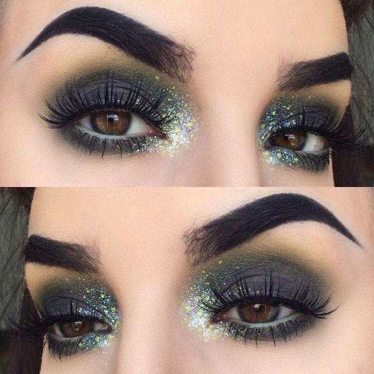 Cute dark and glittery eye make up