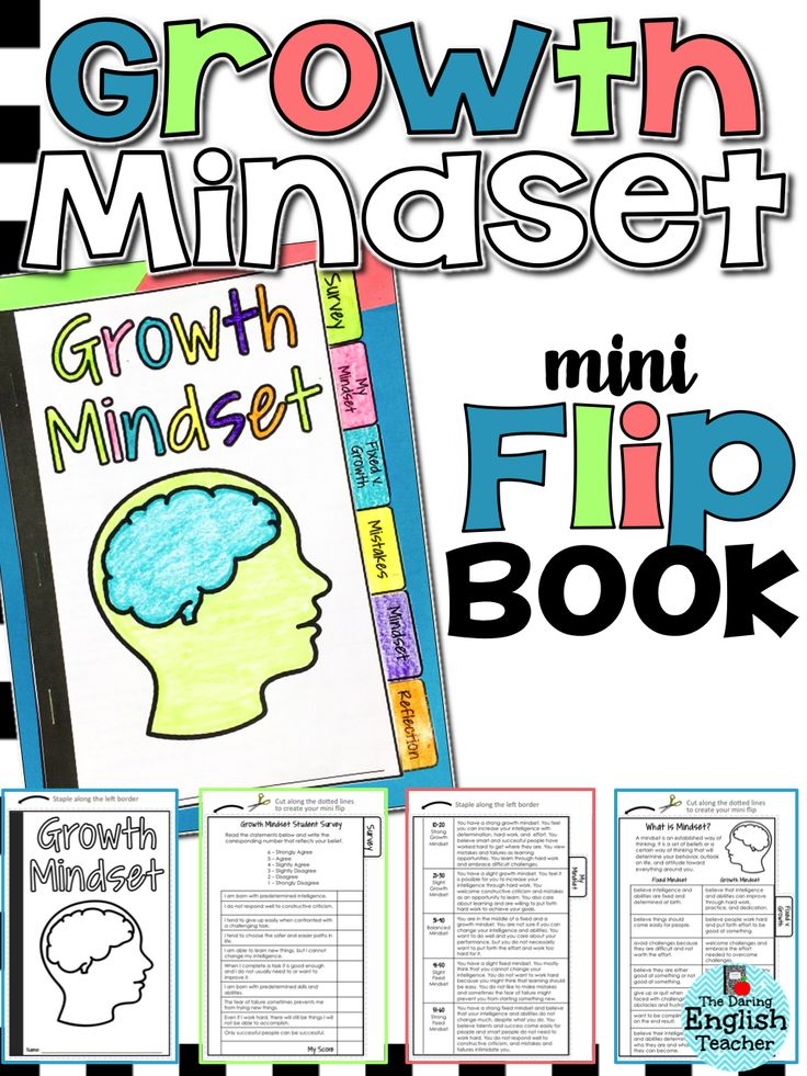 Growth Mindset Flip Book: Foster a growth mindset in your students with this mini flip book. It includes 6 taps to helps students understand what a growth mindset is and activities to help them create and maintain a growth mindset. Growth mindset class activities.