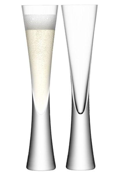 "A distinctive and modern handmade and mouthblown champagne flute ""Moya"" | glass .Glas .verre |Design: LSA International"