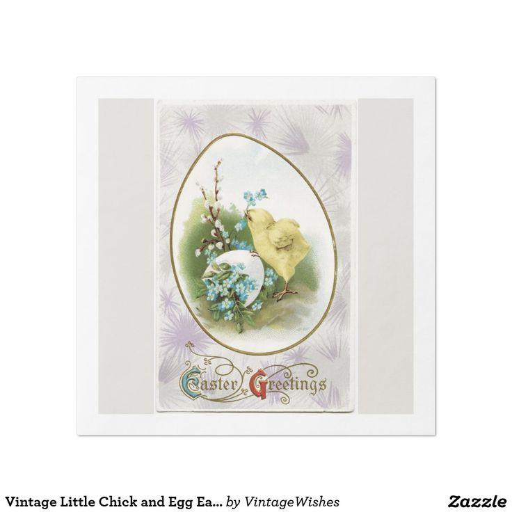 Vintage Little Chick and Egg Easter Paper Dinner Napkin