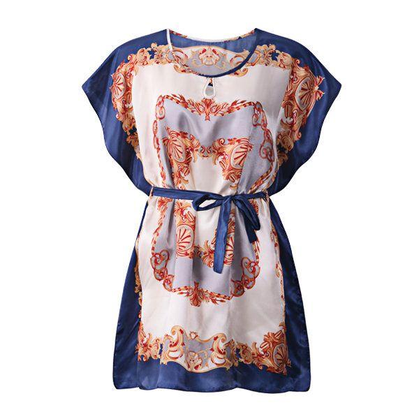 Cosy Loose Silk-like Classical Printing Bat Sleeve Nightdress For Women