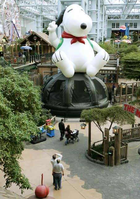 Minneapolis, Minnesota, Mall of America: Camp Snoopy - this is a huge mall with roller-coaster rides, ferris wheels, a LEGOLAND, and much, much more. Toured a small portion of the mall with my mother and sister and had a great dinner in a restaurant that had a logger theme.