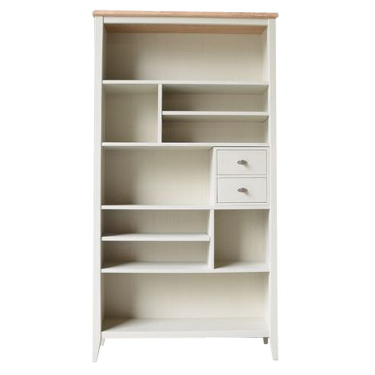 Willis Gambier Elm And Painted Coast Tall Bookcase With 2 Drawers At