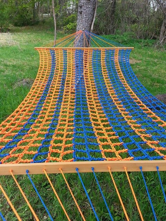 Blue and orange paracord hammock home outdoor www for Diy hammock straps paracord