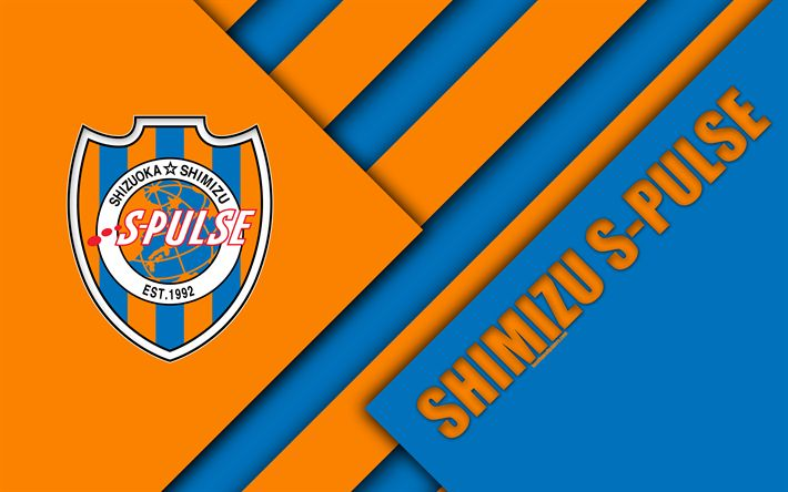 Download wallpapers Shimizu S-Pulse FC, 4K, material design, Japanese football club, orange blue abstraction, logo, Shimizu-ku, Shizuoka, Japan, J1 League, Japan Professional Football League, J-League