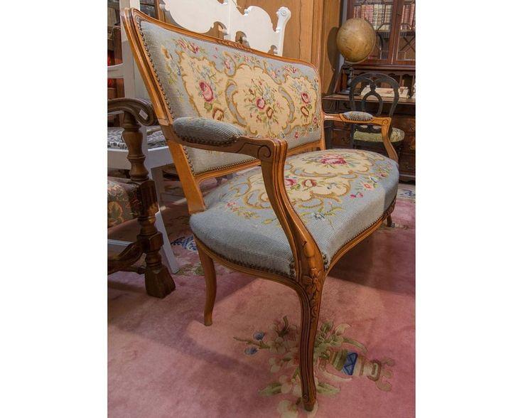 Antik Antiquität Chippendale Sofa Gobelin Bezug Zweisitzer Eibenholz? Blau Polst