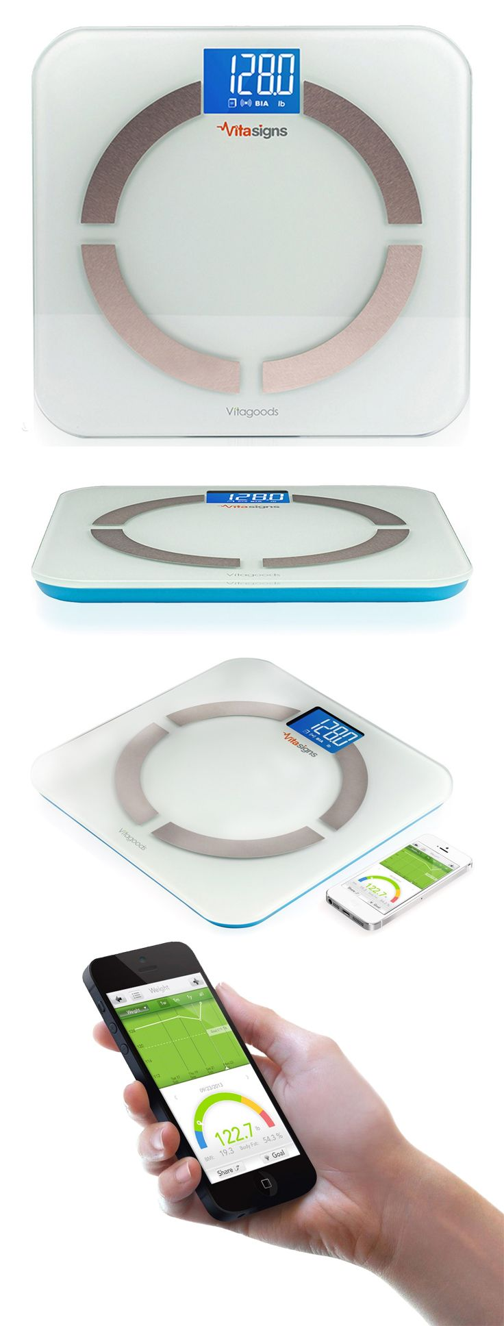Vitasigns smart body analyzer scale with free iOS tracking app // displays weight, BMI, body fat percentage, and Daily Calorie Intake (DCI) results