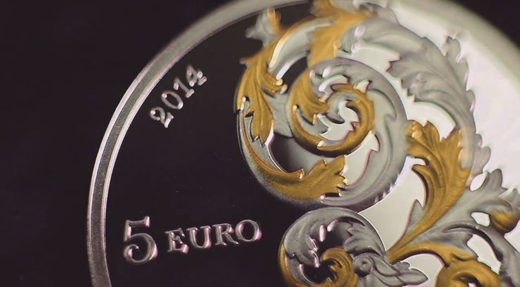 Latvia 5 euro collector silver coin with gilded elements, dedicated to the Baroque art style in Courland (Kurzeme).