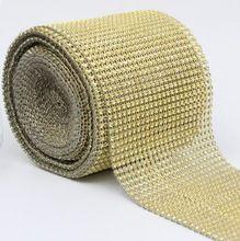 """4.75 """" 1 metros de mariage Wrap Mesh bling ruban accueil parti tableau décorations strass cristal de diamant d'or maille bricolage Type # 4"""