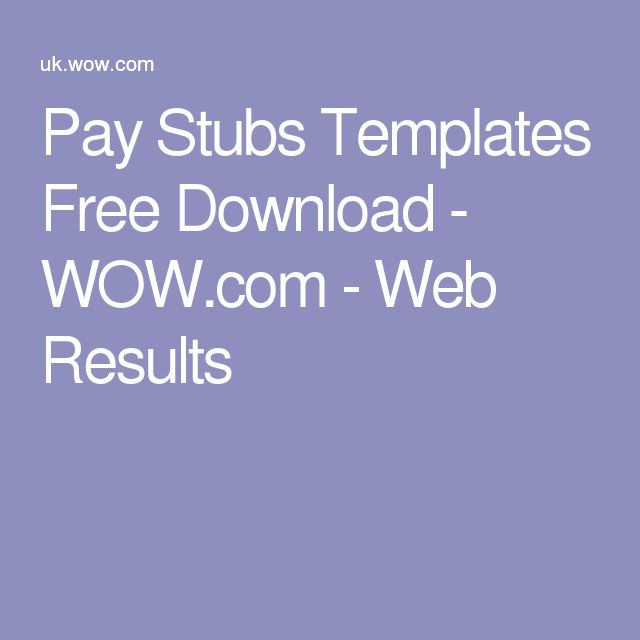 Pay Stubs Templates Free Download - WOW.com - Web Results
