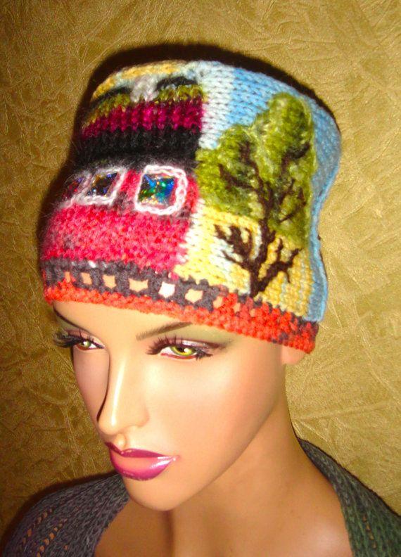 knitted cap handmade  RUSSIAN HOUSE  for girls от annalesnikova