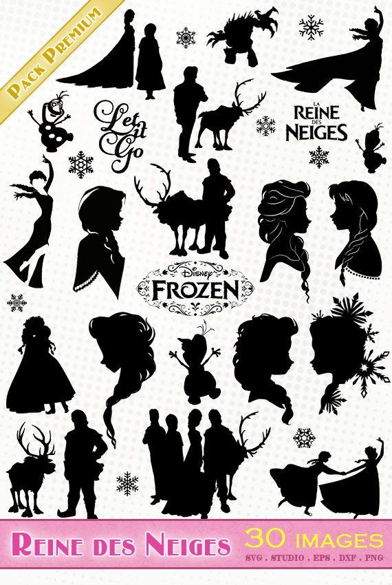 Reine des Neiges (Elsa, Anna). Images pour scrapbooking, machines de découpe, création de stickers, clipart. Fichiers SVG, PNG, DXF, SILHOUETTE STUDIO, EPS