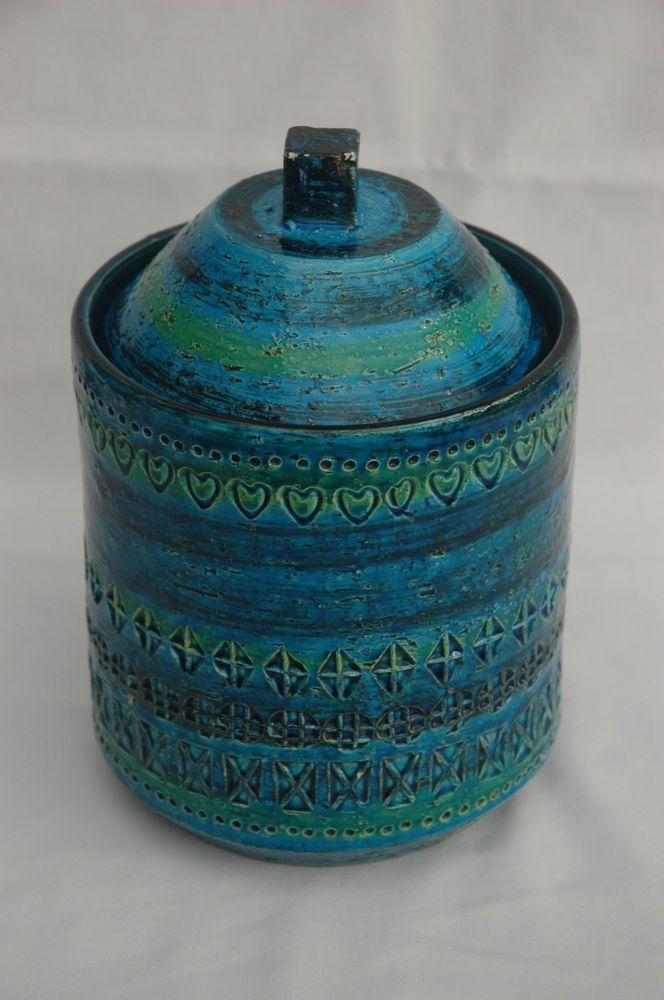 Vintage Large Bitossi Aldo Londi Rimini Blue Storage Jar With Lid Pottery Italy Artisan Pottery Vintage Pottery Pottery