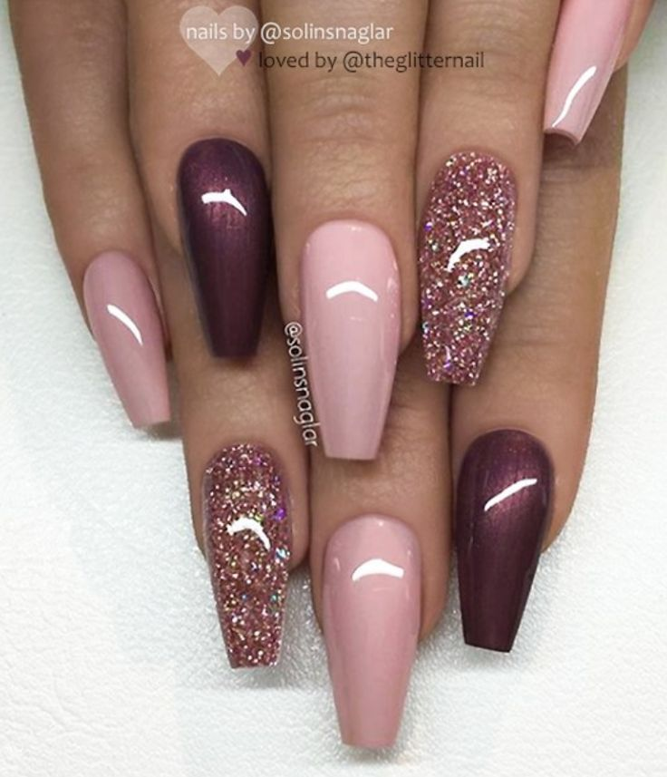 46 Elegant Acrylic Ombre Burgundy Coffin Nails Design For Short And Long Nails – Page 32 of 46