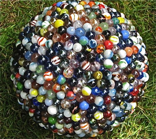 Garden sculpture: recycled marbles and bowling ball mosaic. Cracked Pots Art Show. McMenamin's Edgefield Hotel, Troutdale, OR. by Scarlet Ibis