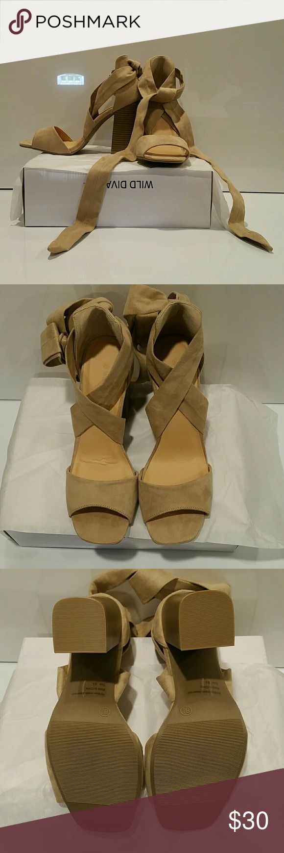 Strap Up Heels Beautiful suede strap up heels. NWT. Although one heel has creasing in the foot area, these heels have never been worn. Wild Diva Shoes Heels