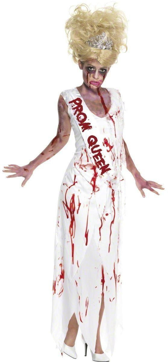 Déguisement reine de promo ensanglantée femme Halloween  : Ce déguisement de reine de promo zombies se compose d'une robe blanche ensanglantée. Le bas de la robe est découpé en lambeaux. L'écharpe est cousue de...