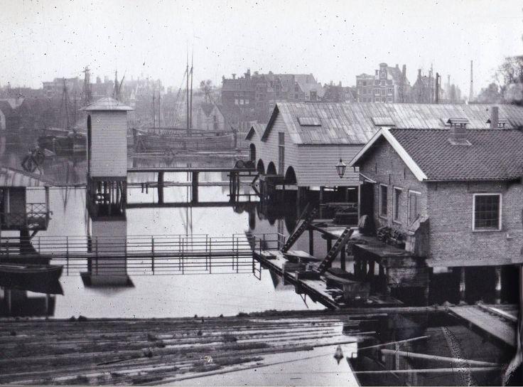 Amsterdam, Westerdok, gezien naar de Haarlemmer Houttuinen en de Korte Prinsengracht Jacob Olie 1865