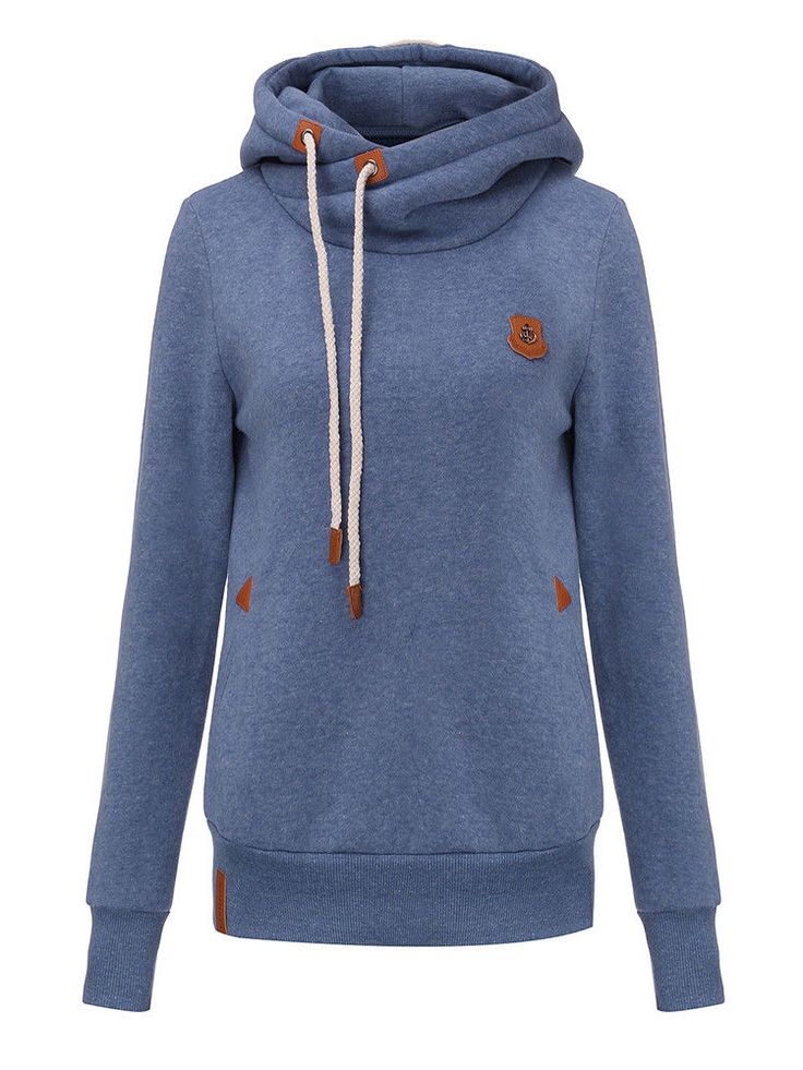 Casual Slim Drawstring Solid Color Long Sleeve Hoodie For Women #Unbranded #Jumper #Casual