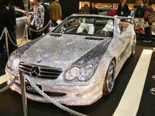 Diamond-Studded #Mercedes BenzThis diamond-studded, mink-furnished Mercedes SL600, worth $4.8 million, was unveiled at a Dubai auto show to celebrate the 50th anniversary in 2007. The car is the property of Saudi Prince (Amir) al Waleed bin Talal bin Abdul-Aziz, one of the top 10 richest people in the world according to Forbes.