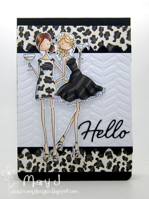 """Created by Mary Johnson.  Featuring Stamping Bella's """"Uptown Girl Victoria and Juliette"""" SKU 519283 available at www.addictedtorubberstamps.com"""
