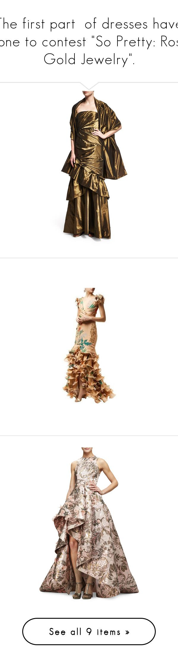 """""""The first part  of dresses have gone to contest """"So Pretty: Rose Gold Jewelry""""."""" by m-kints ❤ liked on Polyvore featuring dresses, gowns, floral evening gown, floral print evening gown, embellished gown, silk gown, floral evening dresses, blush, sleeveless dress and metallic dress"""
