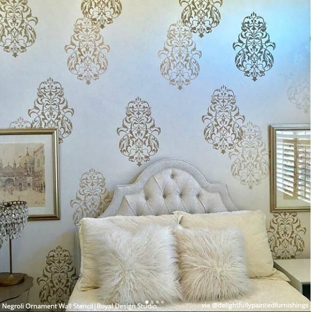 25 Luxurious Ways To Accent A Bedroom Wall Stencil Wall Art Stencils Wall Stencil Painting On Walls