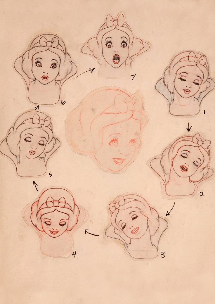 Snow White and the Seven Dwarfs: Snow White clean-up facial expressions by Marc Davis, 1937