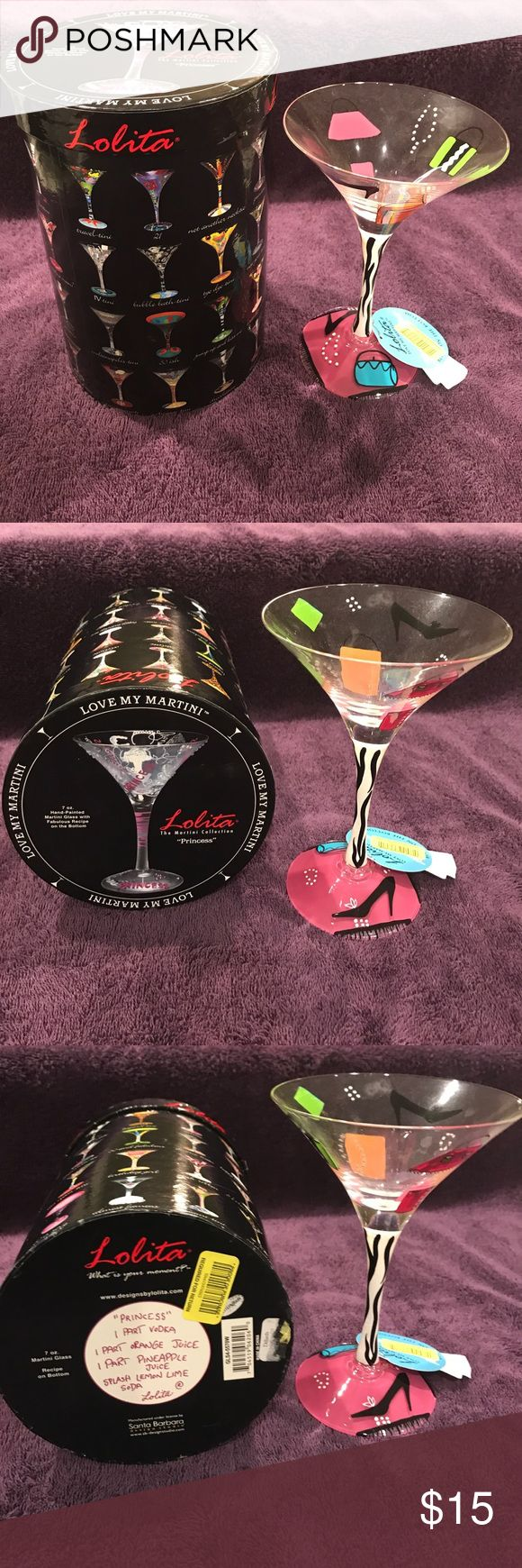 """PRICE REDUCTION New Lolita Princess Martini Glass PRICE REDUCTION New Lolita """"Princess"""" Martini Glass, Love My Martini Special Container with """"Princesses"""" Martini Recipe on Bottom of Container & """"Shopaholic Too"""" Martini Recipe on Bottom of Glass Lolita Other"""