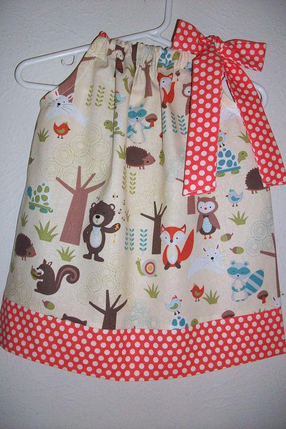 12m Pillowcase Dress Forest Friends Fox Owl Bear Hedgehog