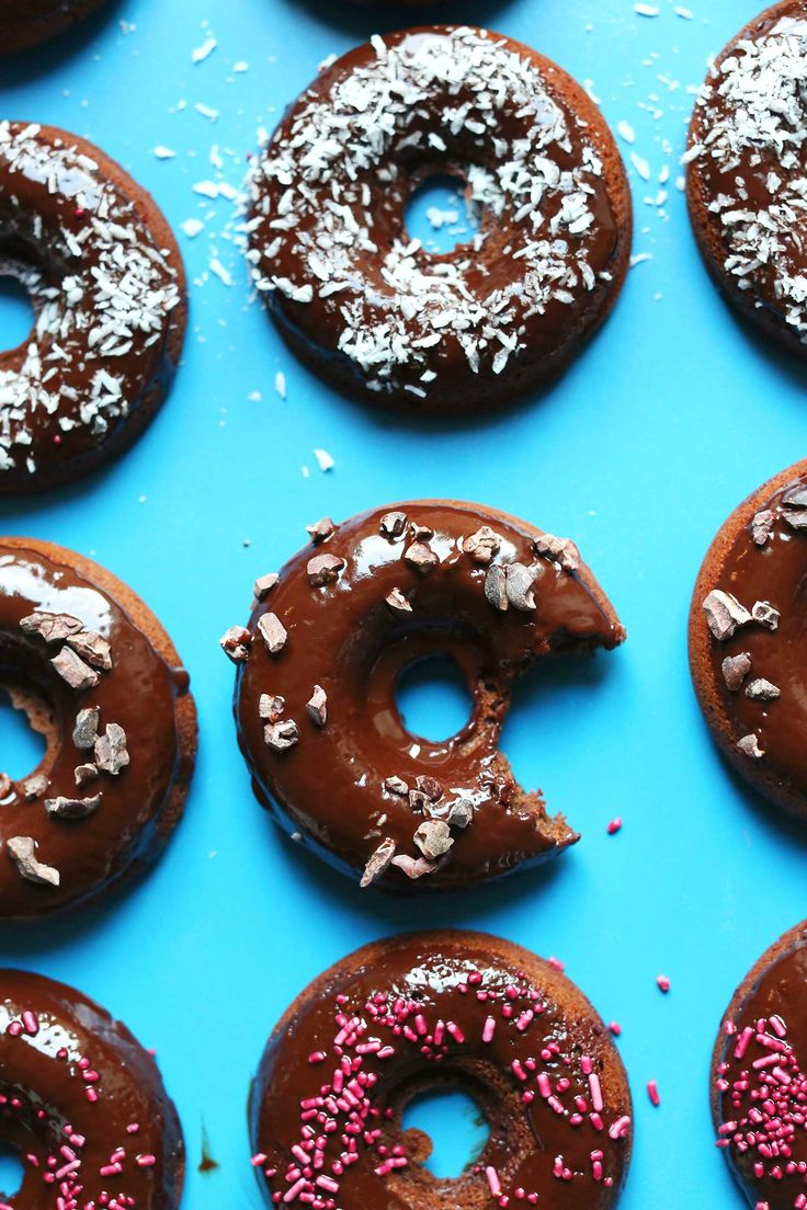 Fluffy, baked chocolate cake donuts made in 30 minutes! Gluten free, perfectly sweet, and topped with a simple coconut oil glaze!
