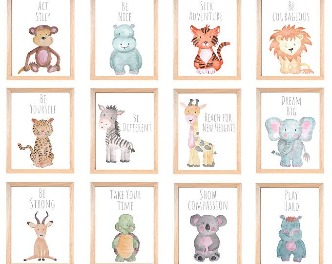 Baby Animal Nursery Wall Art Print Printable Watercolor Animal Art