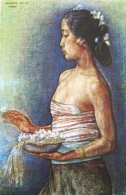 Rudolf Bonnet - Wanita Bali menabur bunga (1952)