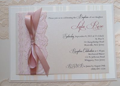 Lace & Ribbon Baby Christening / Baptism / Shower Invitation in Pink and Cream (Also comes in white, silver & blue) ~ by The Satin Bow