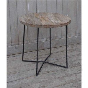 Vintage Recycled Mango Wood Timber Round Side Table with Iron Legs