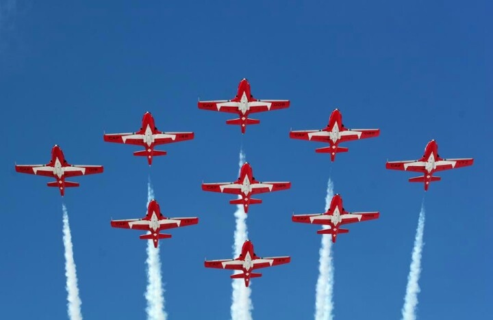 Canadian Snowbirds practising on Vancouver Island