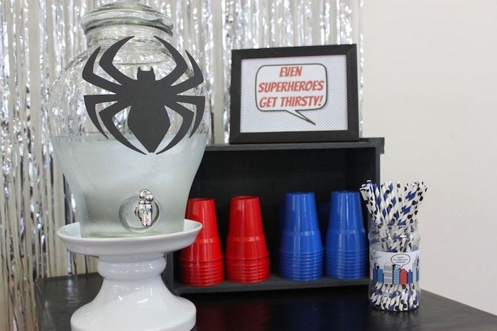 Drink Table from a Spiderman Birthday Party via Kara's Party Ideas! KarasPartyIdeas.com (20)