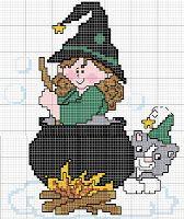 Gráficos Ponto Cruz e Artesanato: Halloween...bruxinhas e caveiras