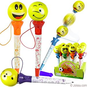 EMOJI POP-UP PENS. Just press the button and watch the little emoji fly into space. Each topper attached to pen with elastic tether. Assorted colors. Each dozen includes a display unit. Perfect for Christmas stocking stuffers and party favors. Sold by the dozen. Size 7 Inches, display unit 7 X 6.5 X 4.5 Inches