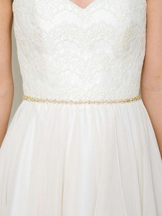 Gold Thin Crystal Bridal Sash | Gold Rhinestone Bridal Belt | Gold Skinny Wedding Sash Belt [Cleo Belt]