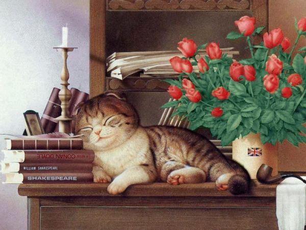 Cat on mantel- Makoto Muramatsu