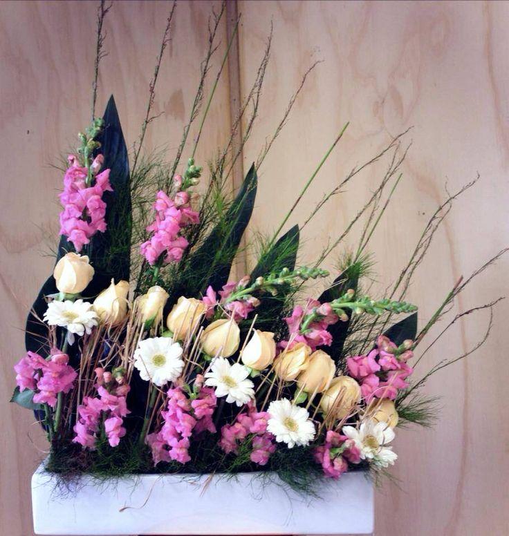 Modern arrangement. French garden. Little flower lane.