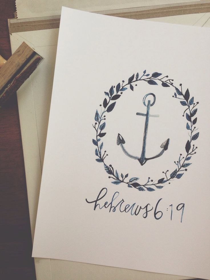 """""""We have this hope as an anchor for the soul, firm and secure.  It leads us through the curtain into God's inner sanctuary."""" This nautical floral wreath Hebrews 6:19 print comes hand-letter and painted in navy watercolor by Monday Wednesday Paper Co."""