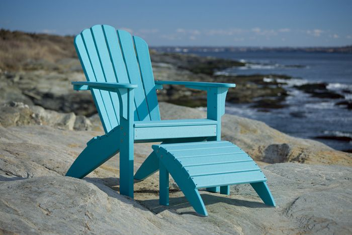 Adirondack chair and ottoman made from recycled plastic bottles. It's cool, comfortable, long-lasting, and available in many colors.From Coastline Made in USA www.casuallivingsc.com